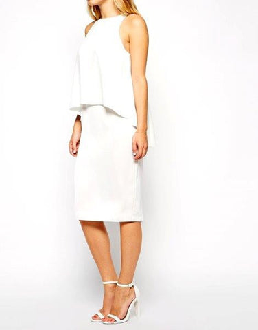 Ladies' Ivory Chiffon Overlay Midi Dress - Oasislync