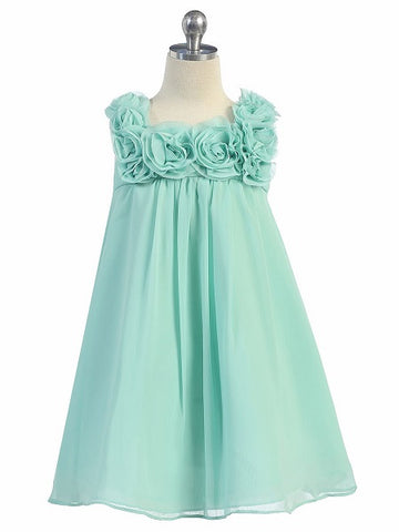 Girls' Aqua Mint Chiffon Dress with Rose Trim - Oasislync
