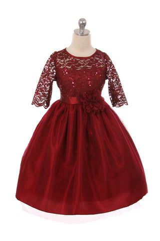 Girls' Burgundy Stretch Lace Dress with Contrast Tulle - Oasislync