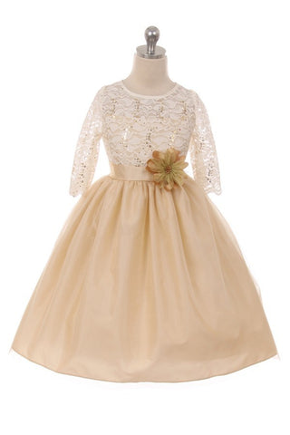 Girls' Gold Stretch Lace Dress with Contrast Tulle - Oasislync