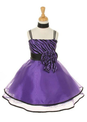 Girls' Purple Party Taffeta Dress with Scarf - Oasislync