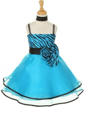 Girls' Turquoise Blue Party Taffeta Dress with Scarf - Oasislync