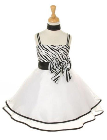 Girls' White Party Taffeta Dress with Scarf - Oasislync