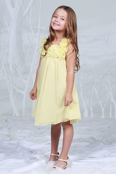 Girls' Yellow Chiffon Dress with Rose Trim - Oasislync