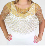 Gold Silver Beaded Crochet Evening Poncho - Oasislync