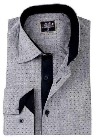 Grey Patterned Slim Fit Dress Shirt - Oasislync