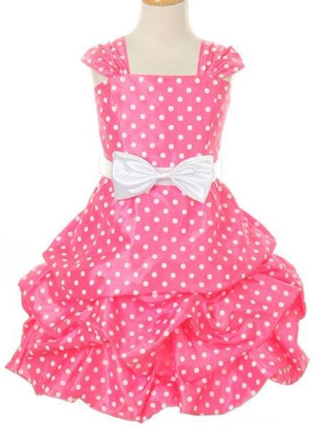 Girls' Pink Guava Party Dress with Polka Dots - Oasislync
