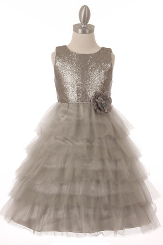 Sequin Layered Girls Party Dress - Oasislync