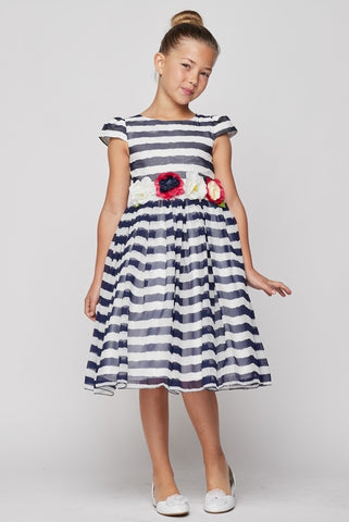 Classic Navy blue and White Strip Ribbon Party Dress - Oasislync