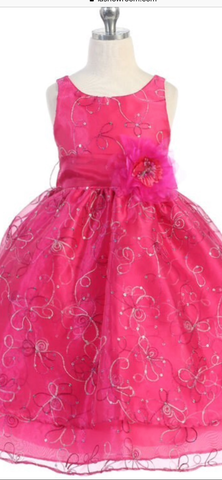 Fushia Pink Embroiderey Sequence Flower Layer Dress - Oasislync
