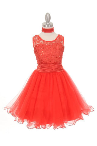 Rhinestone Lace Dress in Tomato red