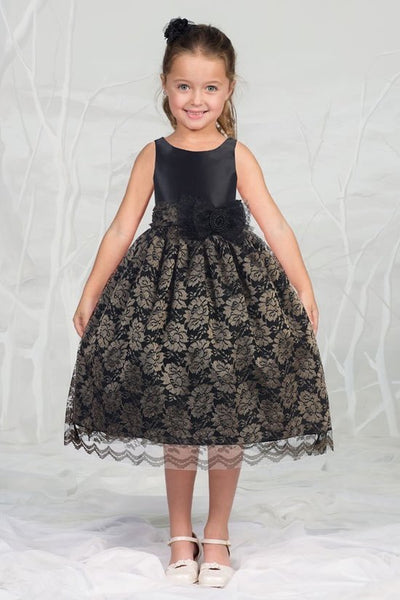 Girl's satin Bodice and Laces overlay Skirt in Champagne Black - Oasislync