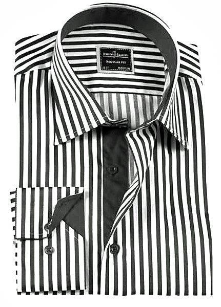 Black Striped Slim Fit Dress Shirt - Oasislync