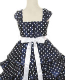 Girls' Navy Blue Party Dress with Polka Dots - Oasislync