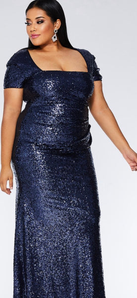 Plus Size Navy Sequuin Maxi Dress - Oasislync