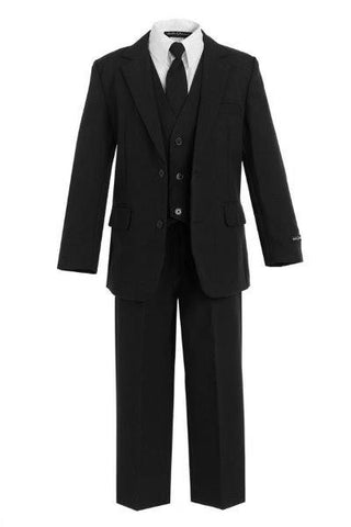 Boys' 5-Piece Black Formal Slim Fit Suit - Oasislync