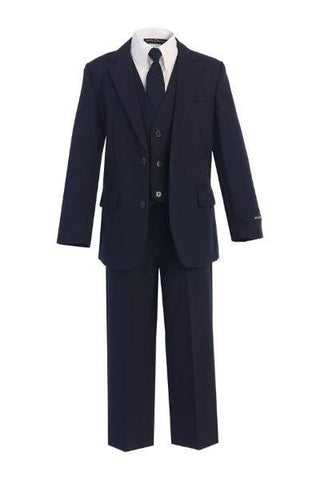 Boys' 5-Piece Navy Blue Formal Slim Fit Suit - Oasislync