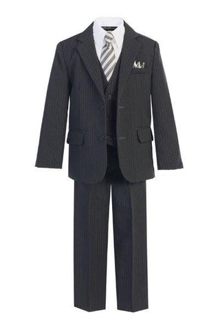 Boys' 5-Piece Grey Pinstripe Formal Suit - Oasislync