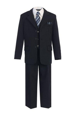 Boys' 5-Piece Navy Blue Pinstripe Formal Suit - Oasislync