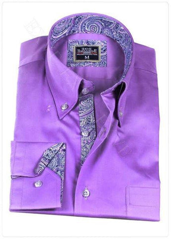 Purple Paisley Slim Fit Dress Shirt - Oasislync