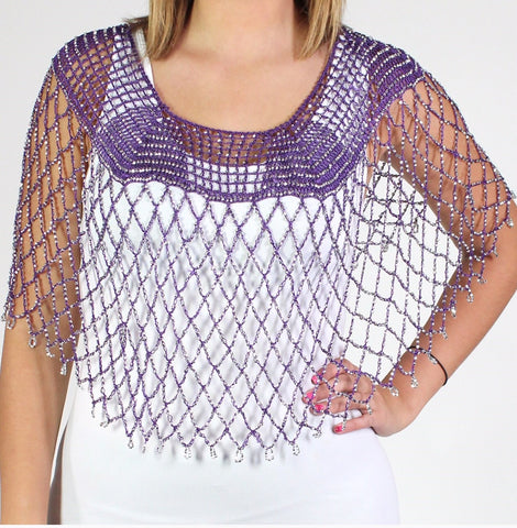 Purple Silver Beaded Crochet Evening Poncho - Oasislync