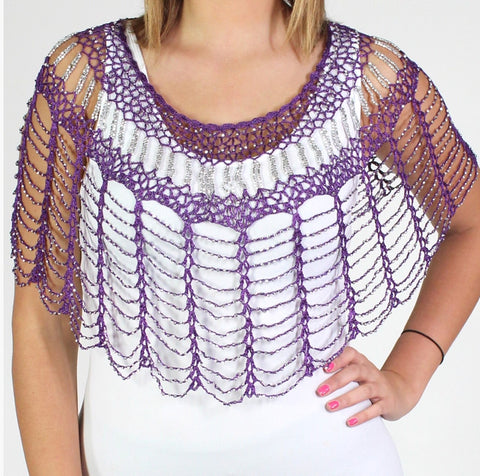 Purple Silver Beaded Webbed Crochet Evening Poncho - Oasislync