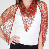 Red Gold Shawl Beaded Triangle Scarf - Oasislync