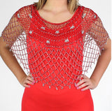 Red Silver Beaded Crochet Evening Poncho Curved Design - Oasislync