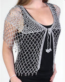 Silver Beaded Evening Cardigan - Oasislync