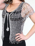 Silver Beaded Evening Cardigan with Loops - Oasislync