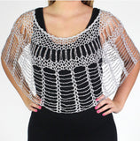 Silver Beaded Webbed Crochet Evening Poncho - Oasislync
