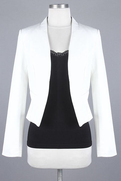 Solid White Open-Front Cropped Blazer - Oasislync