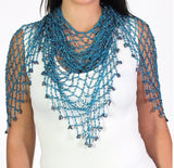 Teal Shawl Beaded Triangle Scarf - Oasislync