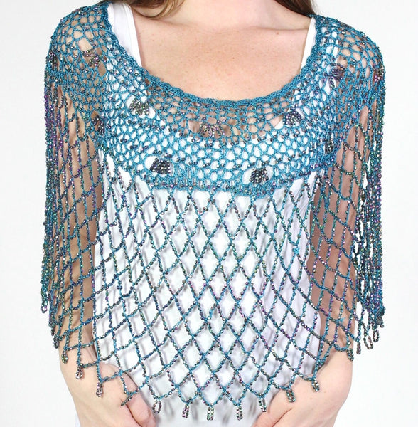 Teal Silver Beaded Crochet Evening Poncho - Oasislync