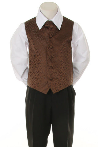 Boy's Formal Vest and Tie Set - Chocolate Brown - Oasislync