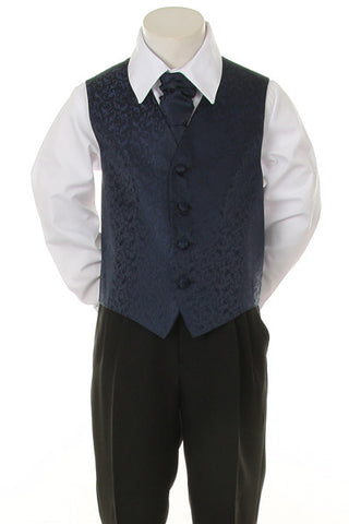 Boy's Formal Vest and Tie Set - Navy Blue - Oasislync