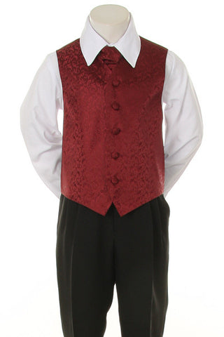 Boy's Formal Vest and Tie Set - Burgundy - Oasislync
