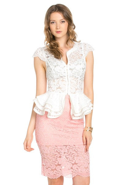 White Cap Sleeve Lace Top with Layered Peplum - Oasislync