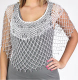 White Silver Beaded Crochet Evening Poncho - Oasislync