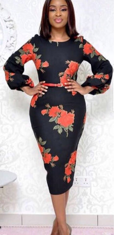 Lantern Sleeves Black Floral Belted Sheath Dress - Oasislync