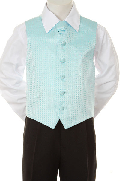 Boy's Formal Vest and Tie Set - Aqua - Oasislync