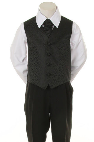 Boy's Formal Vest and Tie Set - Black - Oasislync