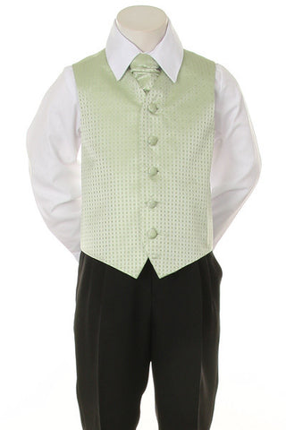 Boy's Formal Vest and Tie Set - Sage - Oasislync