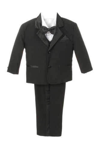 Boy Tuxedo with Satin Lapel and Side Pants Stripes - Oasislync