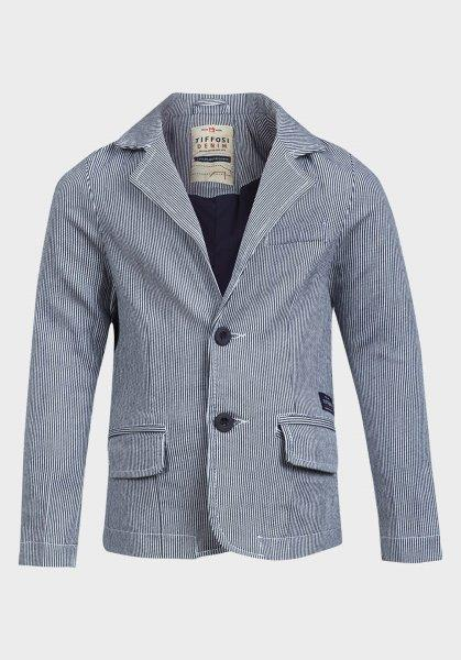 Boys' Navy Grey Blazer with Pin Stripe Design - Oasislync