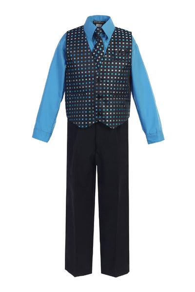 Boys' Black Turquoise 4-Piece Suit - Vest, Tie and Pocket Square - Oasislync
