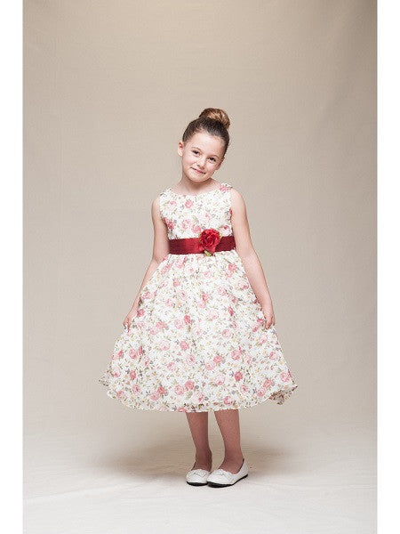 Crayon Kids Girls Ivory and Burgundy Rose Dress - Oasislync