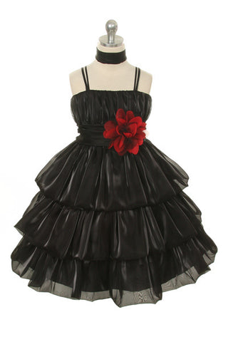 Kid's Dream Girls' Black Double-layered Organza Party Dress - Oasislync