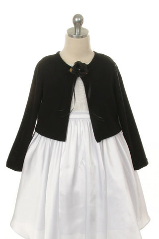 Girls' Black Long Sleeve Bolero Jacket - Oasislync