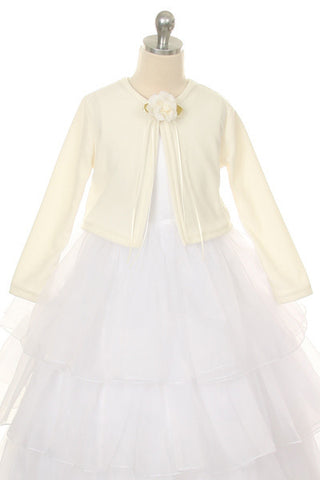 Girls' Ivory Long Sleeve Bolero Jacket - Oasislync